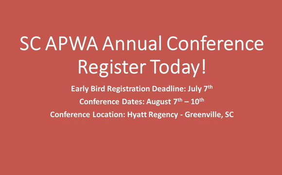 Register Today for the SC APWA Annual Conference!